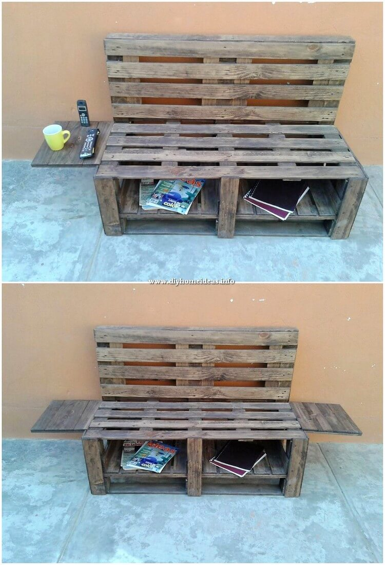 Pallet Bench with Side Tables