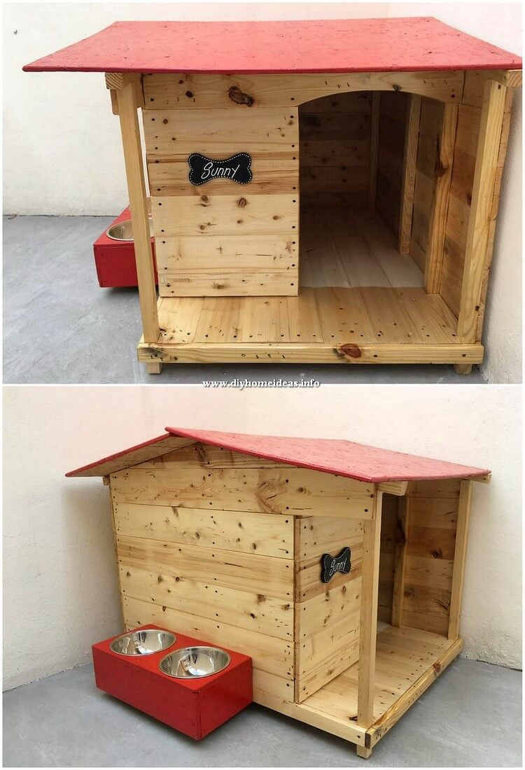 Pallet Dog House with Food Feeder