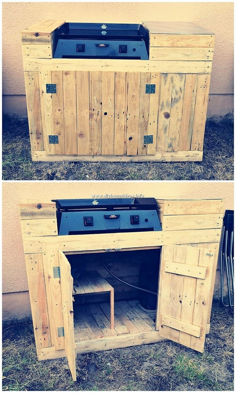 Pallet Grill Table with Storage