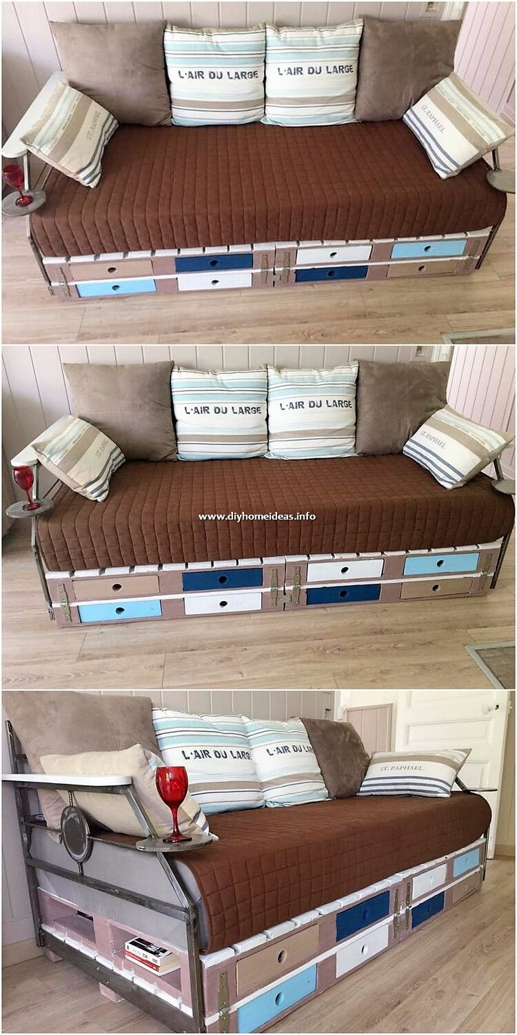 Pallet Couch with Drawers