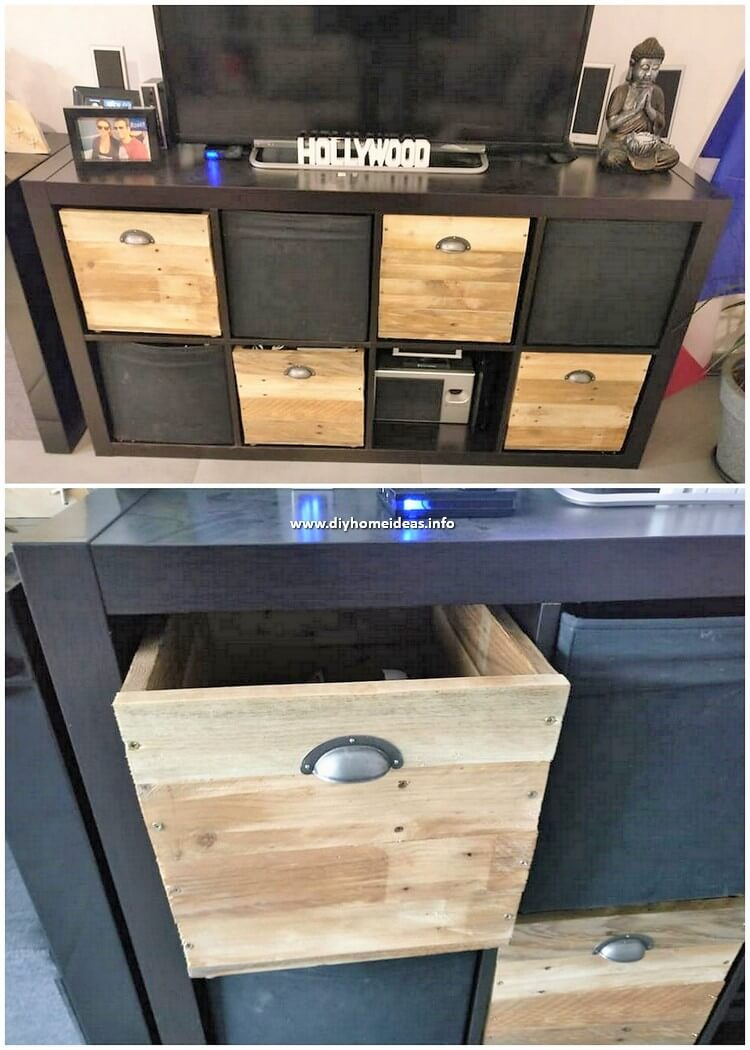 Pallet Media Table with Chest of Drawers