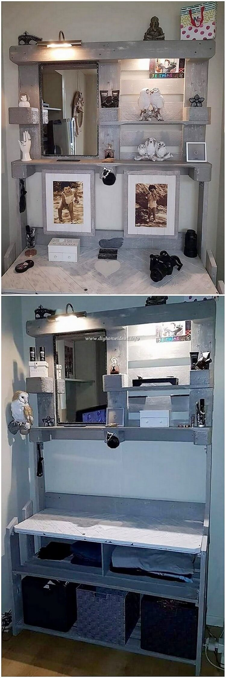 Pallet Wall Shelves with Mirror Frame