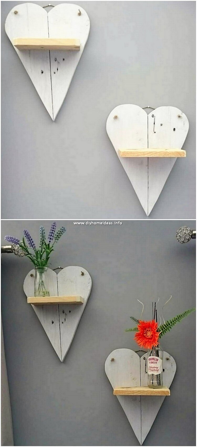 Pallet Heart Wall Shelves