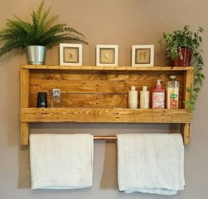 Pallet Shelf with Towel Rack