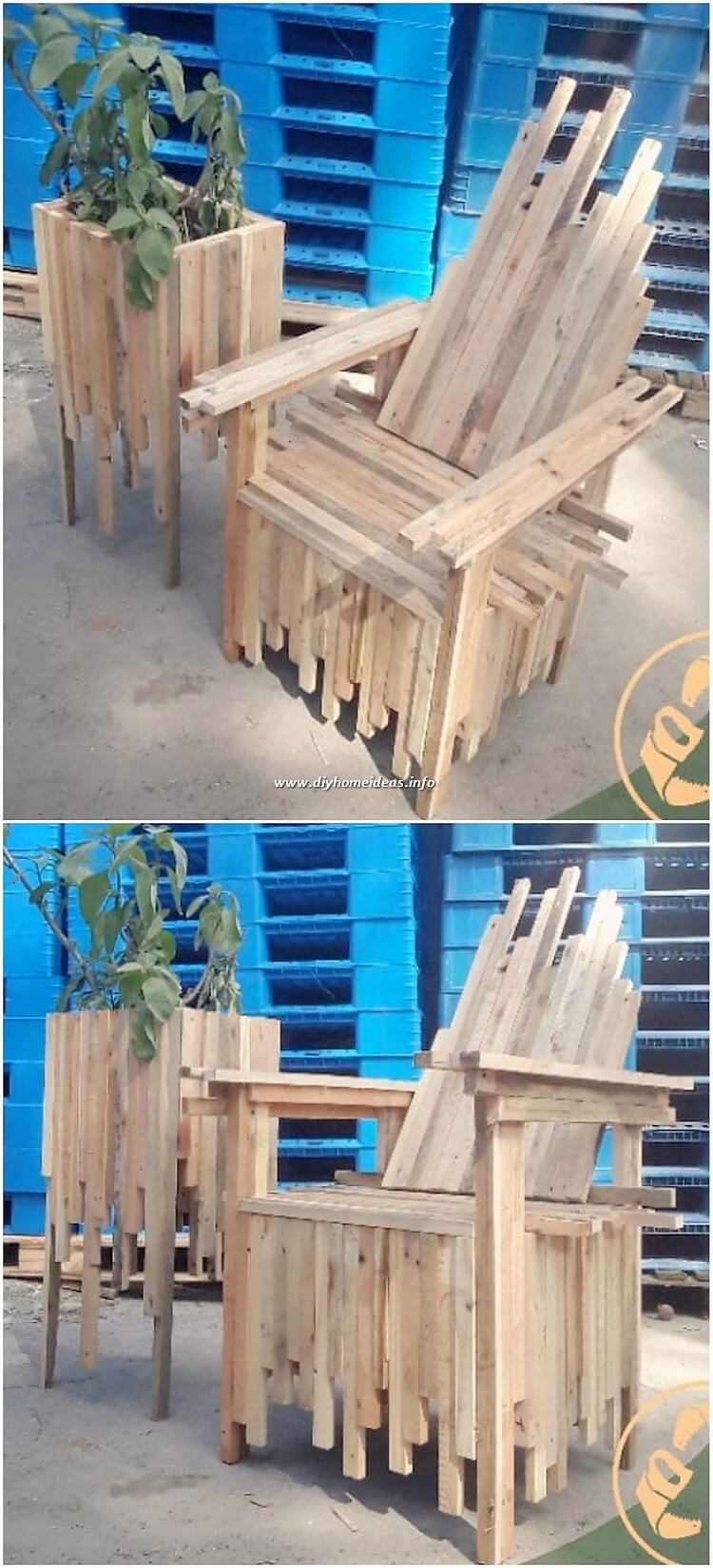 Pallet Chair and Planter