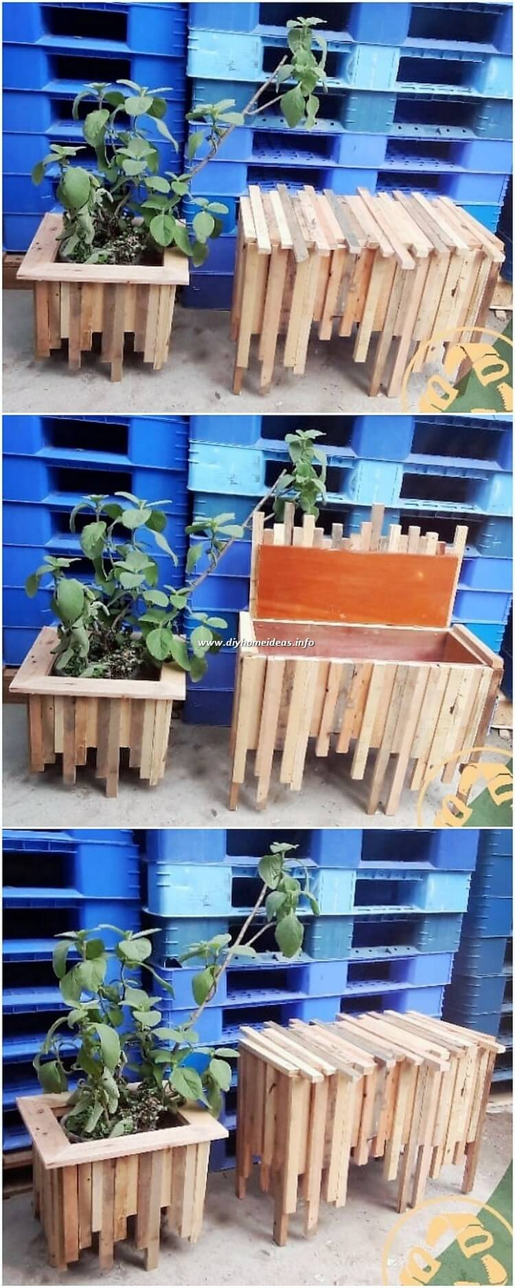 Pallet Planter and Seat with Storage