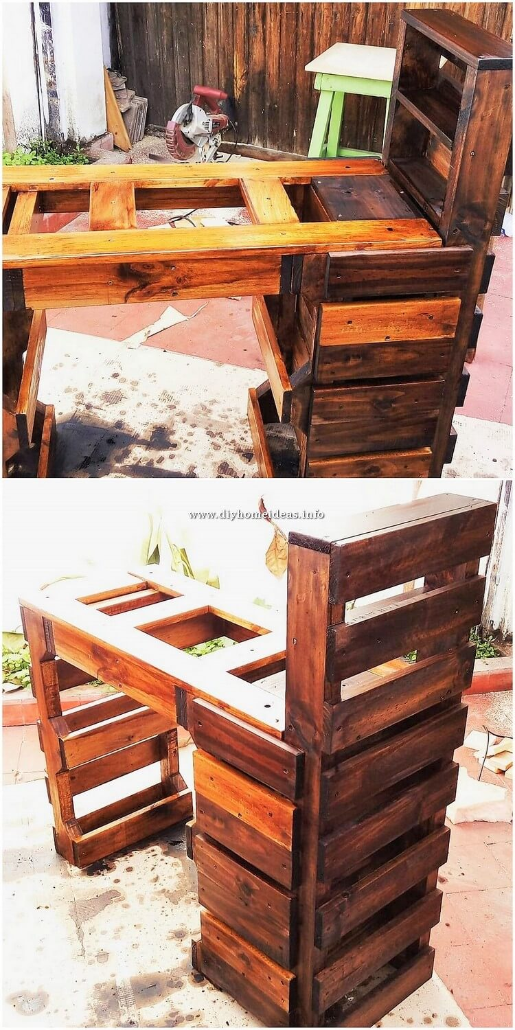 Pallet Desk Table with Drawer