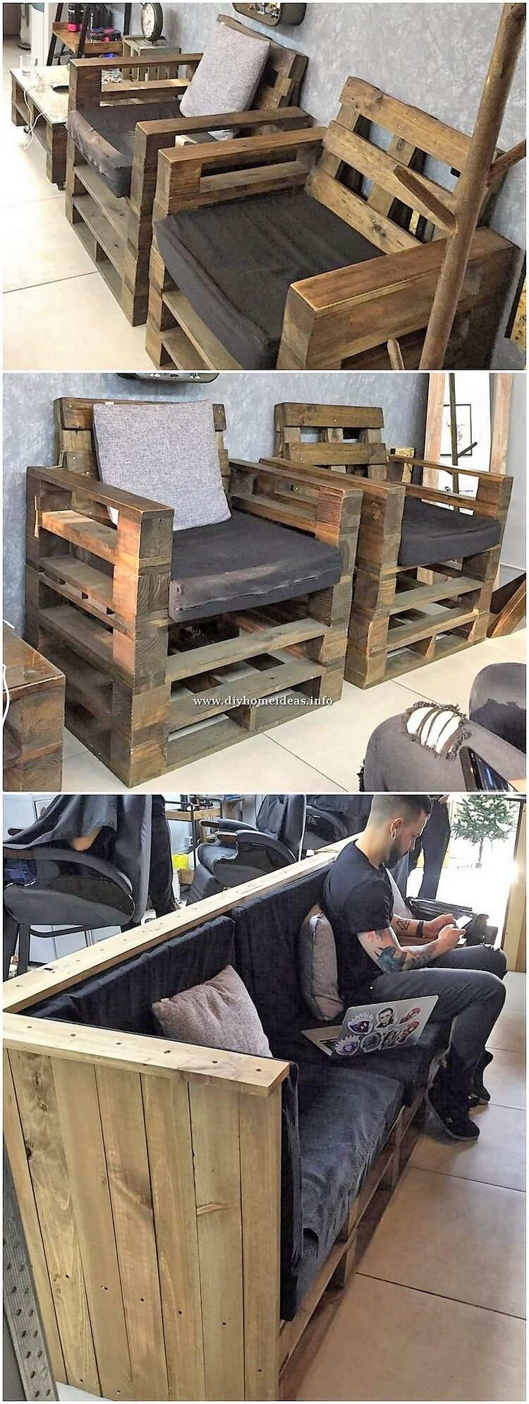 Wood Pallet Chairs and Bench