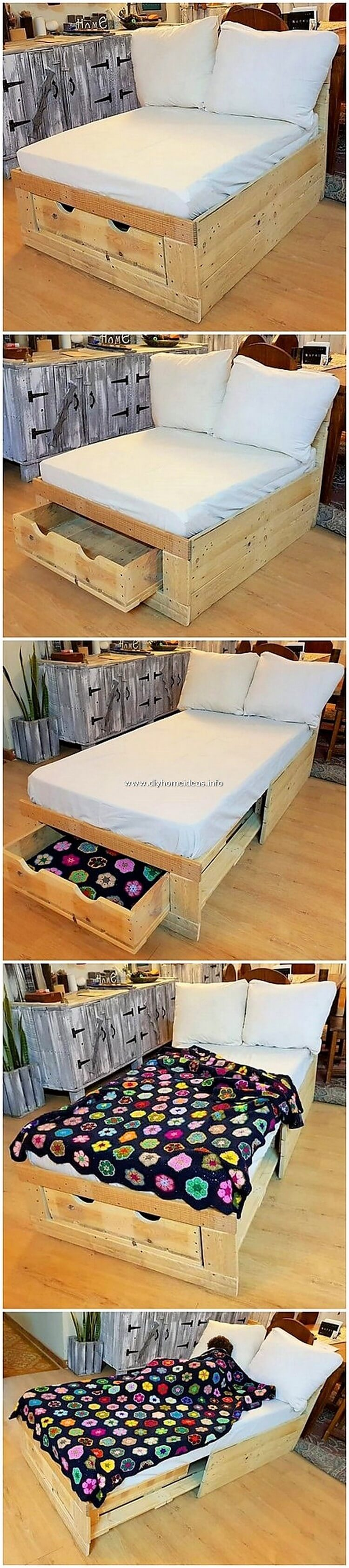 Pallet Chair or Bed with Drawer