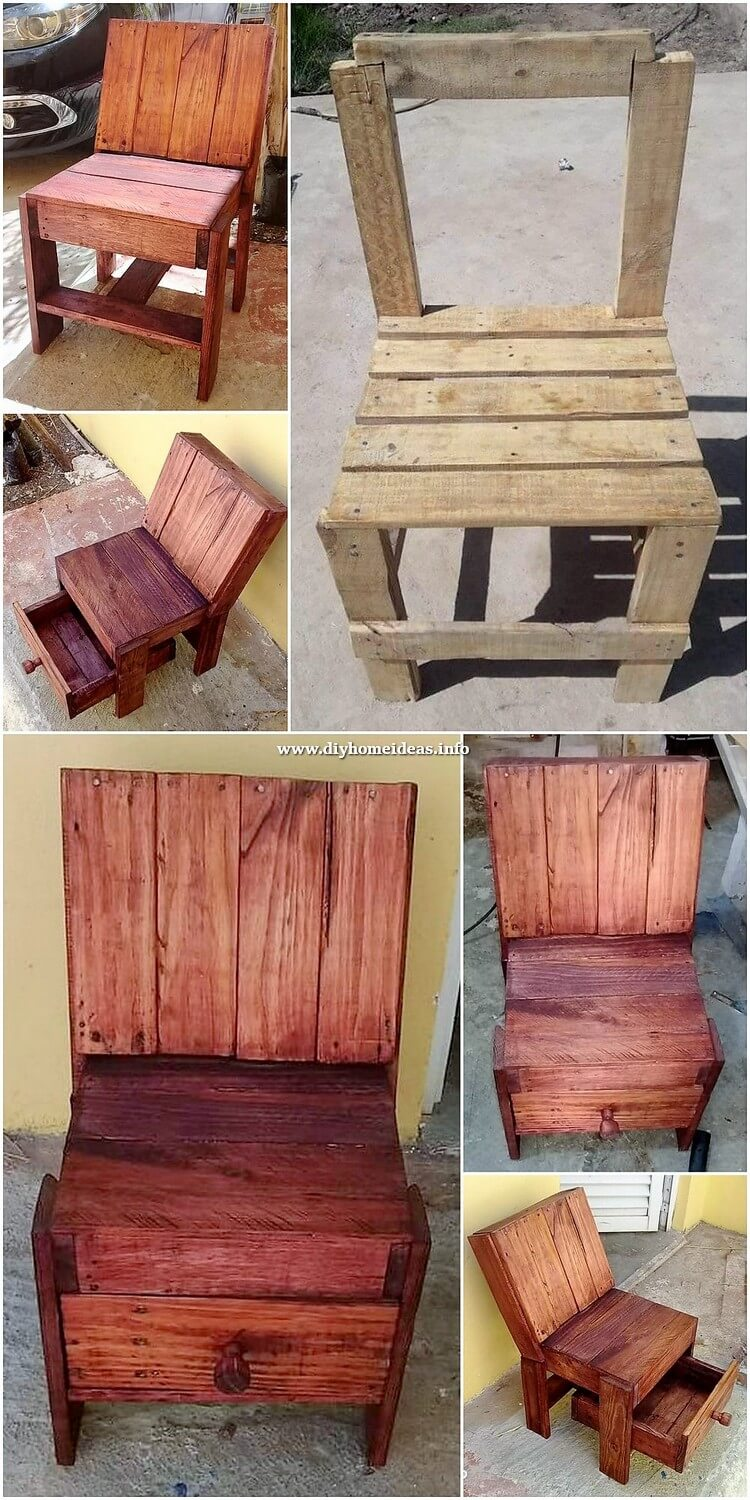 Pallet Chair with Drawer
