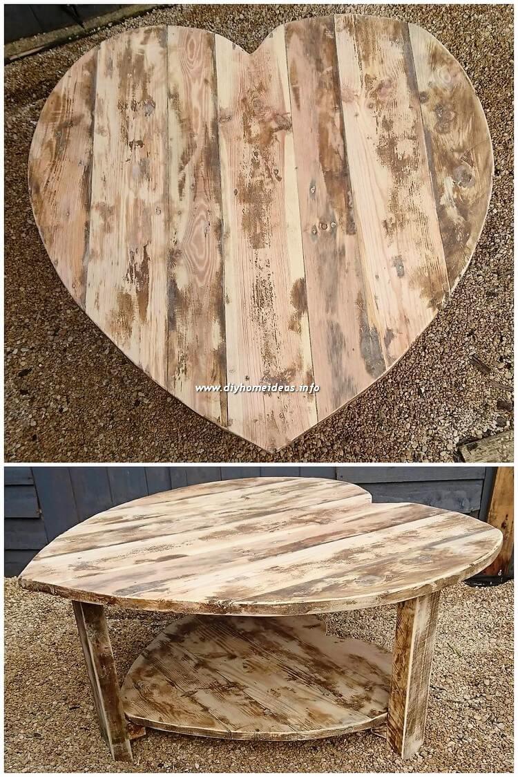 Pallet Heart Shape Table