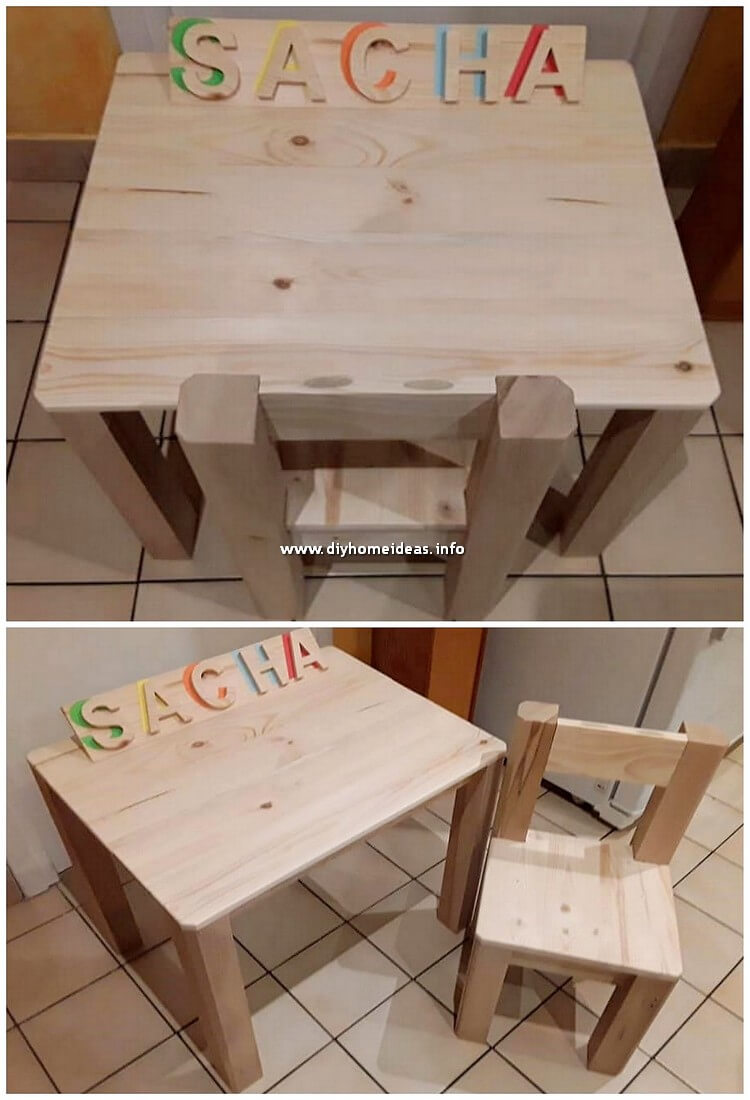 Pallet Table and Chair for Kids