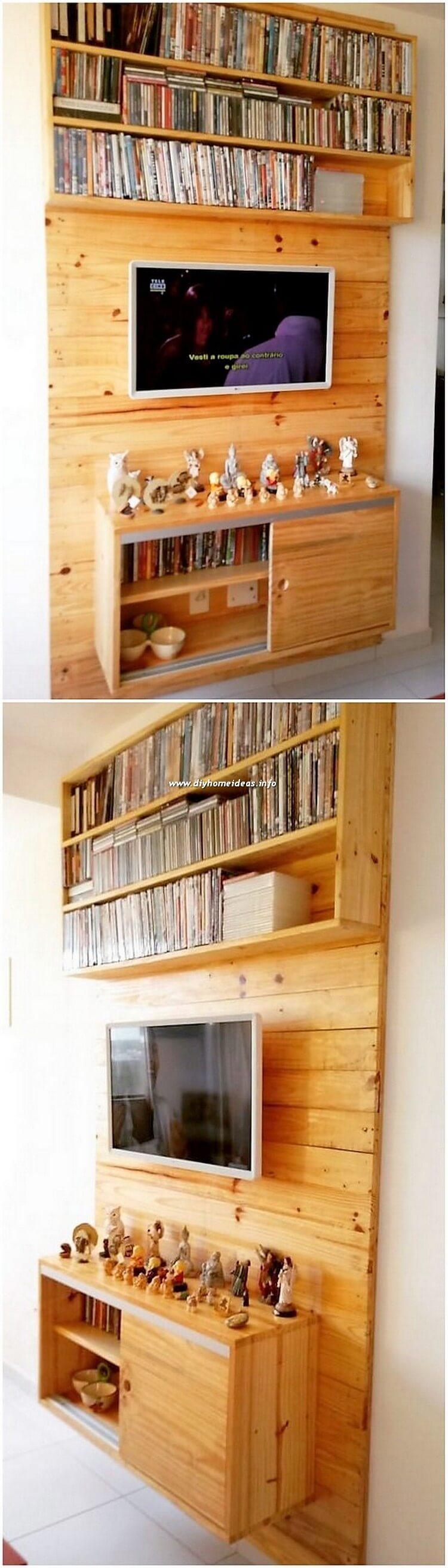 Pallet Wall LED Holder with Bookshelves
