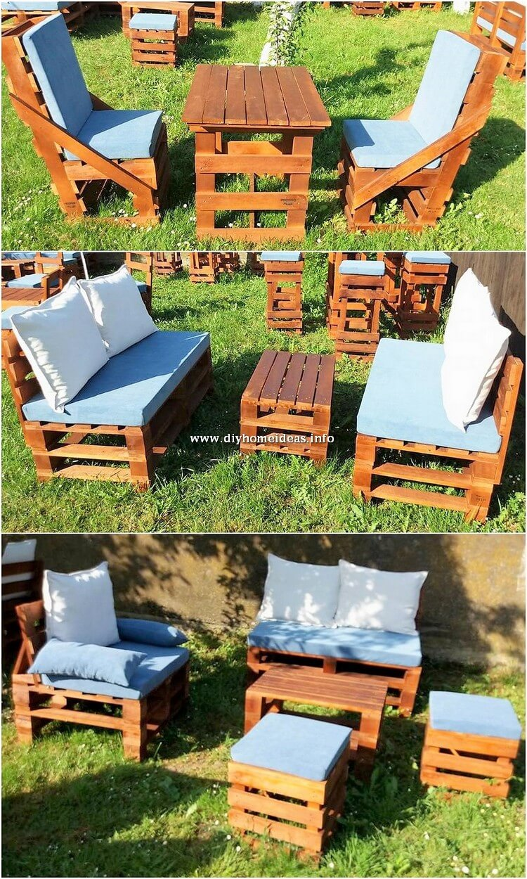 Pallet Chairs Benches and Table