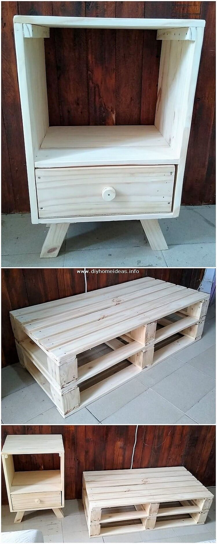 Pallet Side Table and Coffee Table