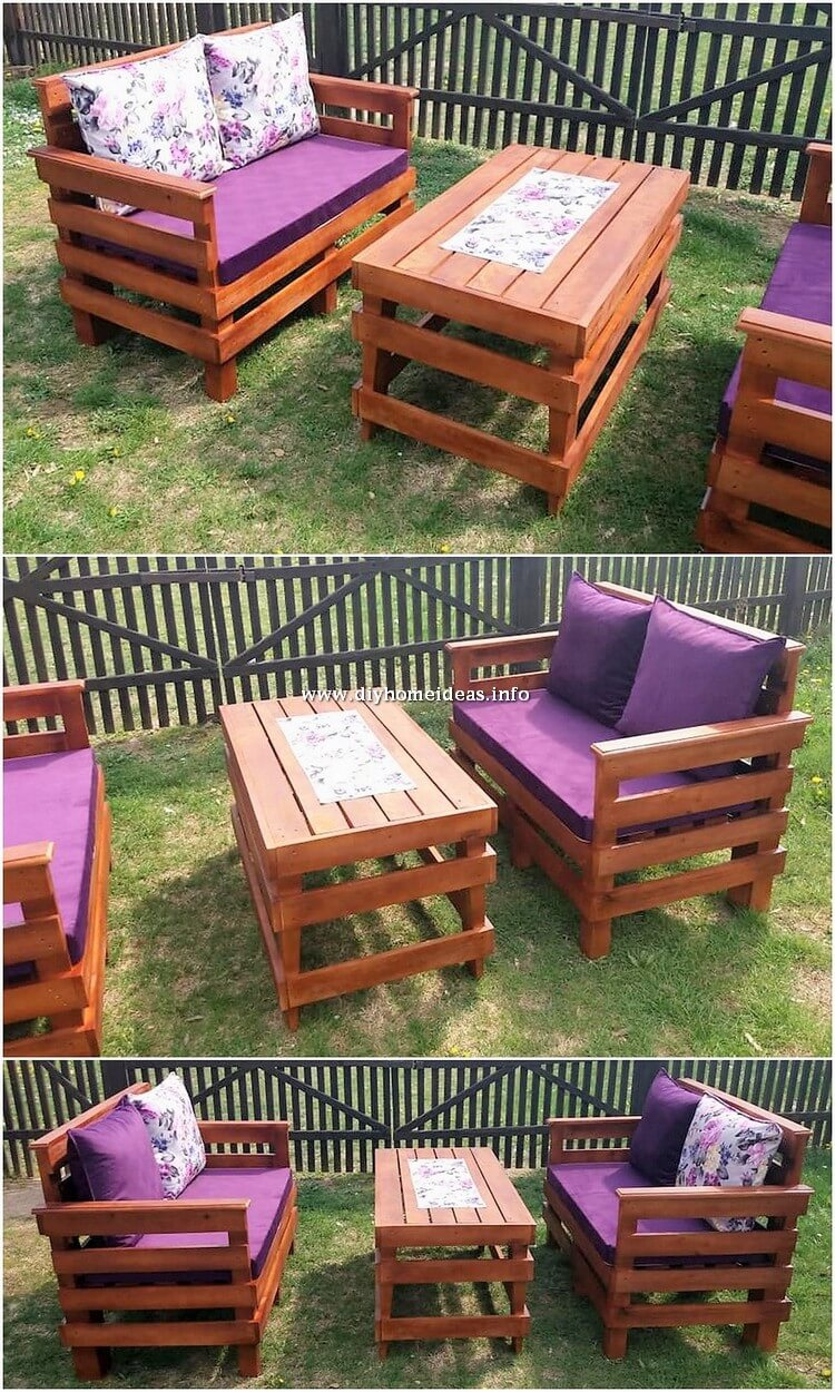Pallet Wood Garden Benches and Table