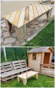 Pallet Garden Bench and Table