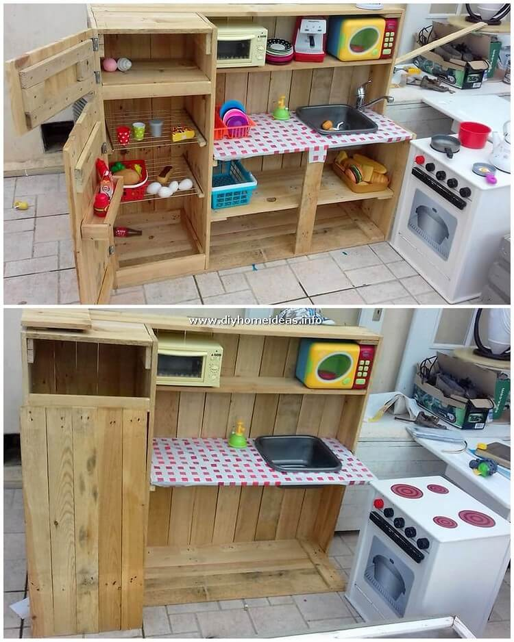 Pallet Kitchen Cabinet for Kids