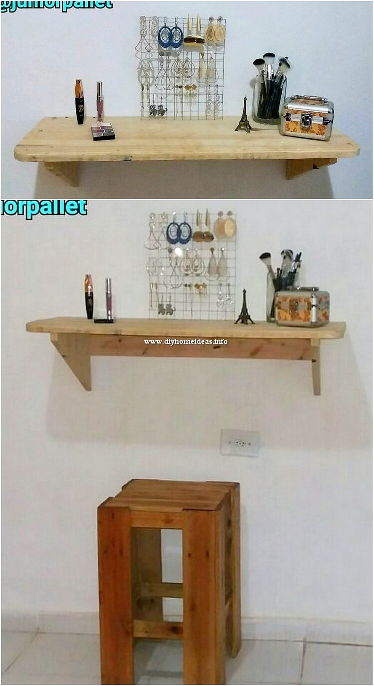 Pallet Wall Shelf and Stool