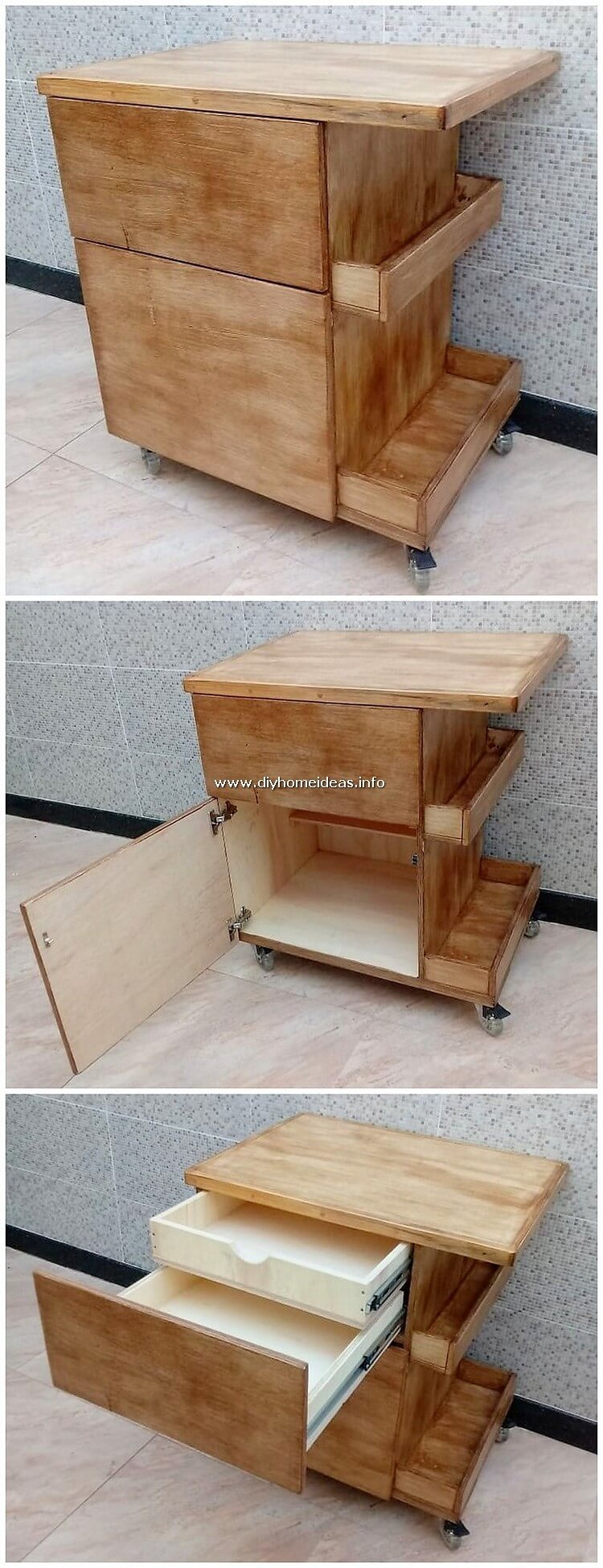 Pallet Side Table with Cabinet