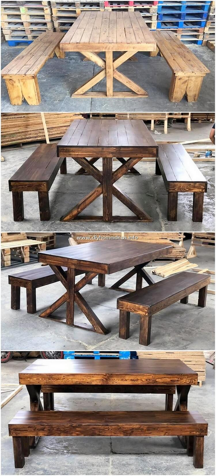 Pallet Wood Table and Benches