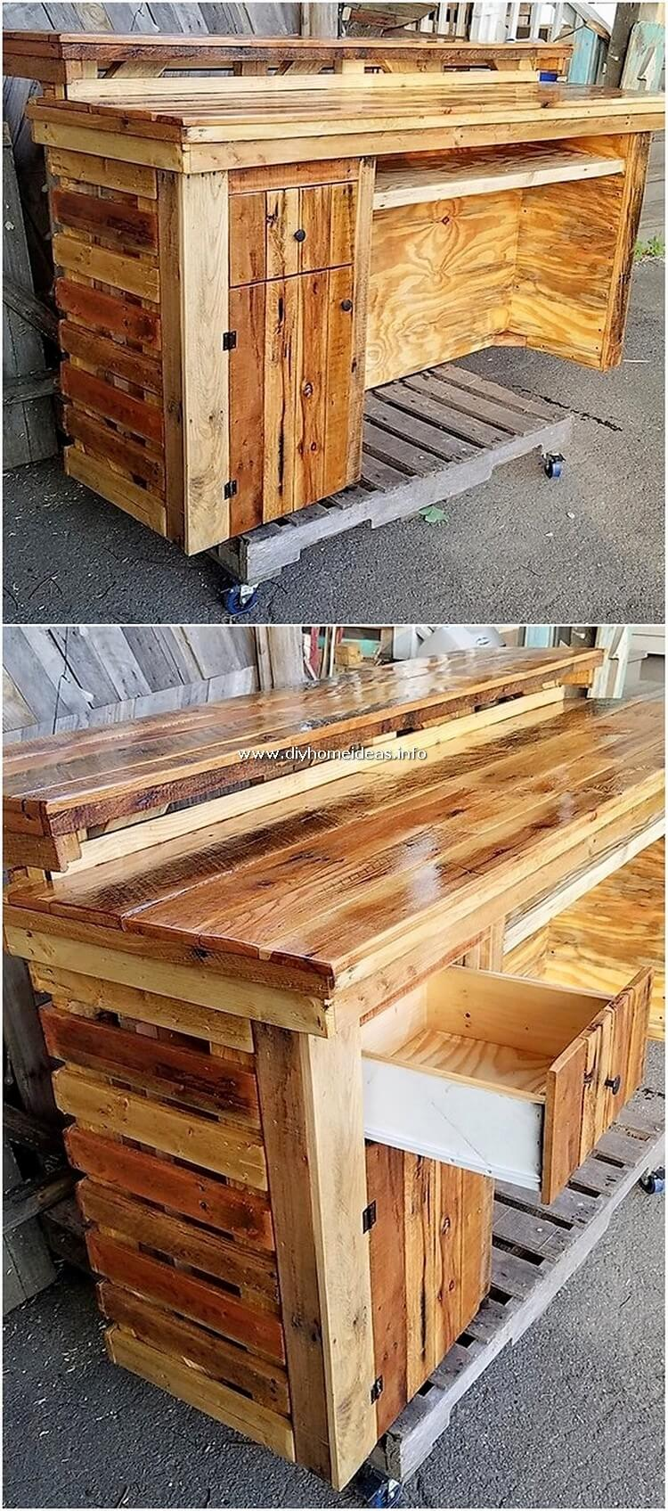 Pallet Counter Table with Drawr