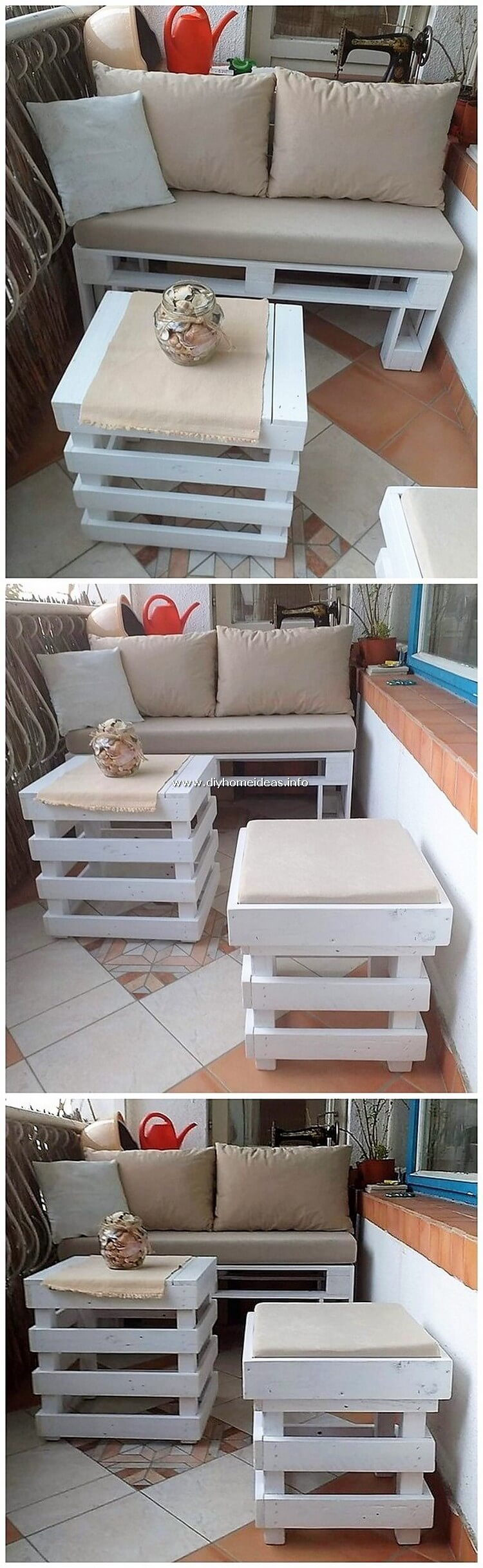 Pallet Bench Table and Stool