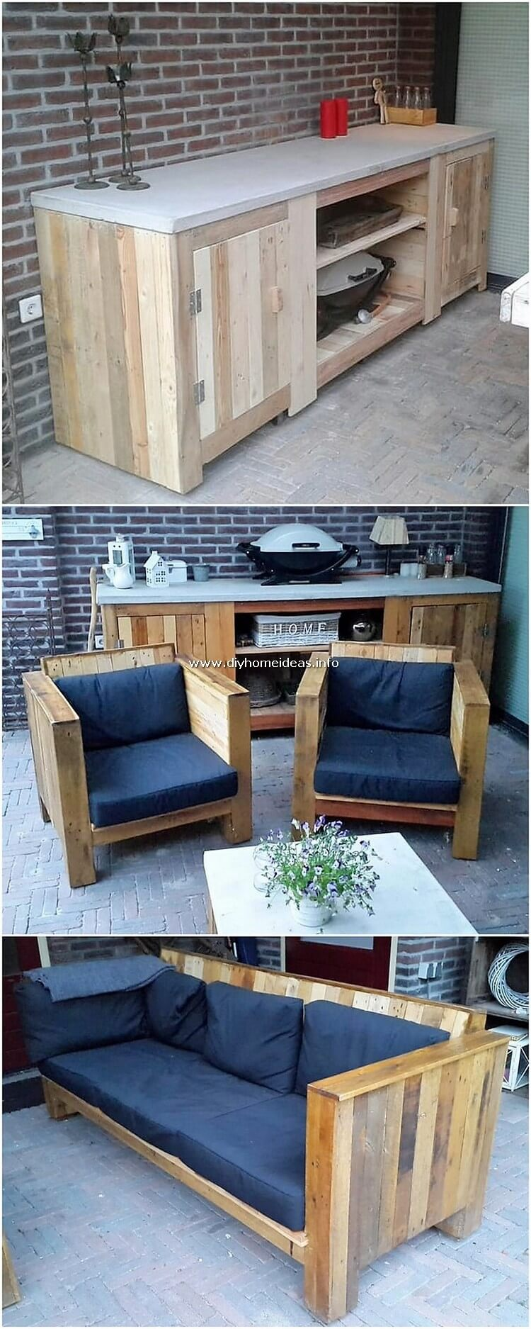Pallet Cabinet Chairs and Bench