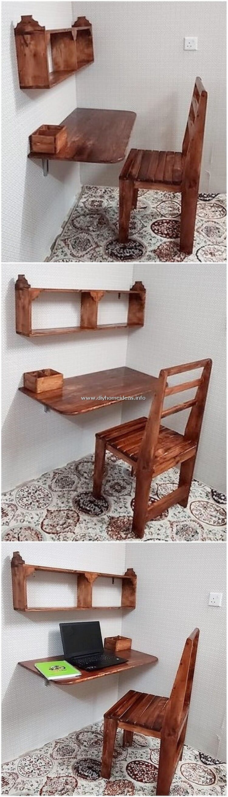 Pallet Folding Desk Table and Chairs